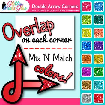 Double Arrow Photo Corner Clip Art {Rainbow Glitter Designs for Worksheets}