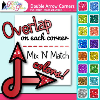 Double Arrow Photo Corner Clip Art | Rainbow Glitter Designs for Worksheets