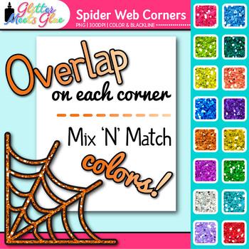 Spider Web Photo Corner Clip Art | Rainbow Glitter Designs for Worksheets