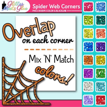 Spider Web Photo Corner Clip Art {Rainbow Glitter Designs