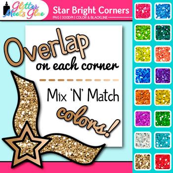 Star Bright Photo Corner Clip Art   Rainbow Glitter Designs for Worksheets