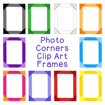 Photo Corners Frames Clip Art PNG JPG Blackline Included C