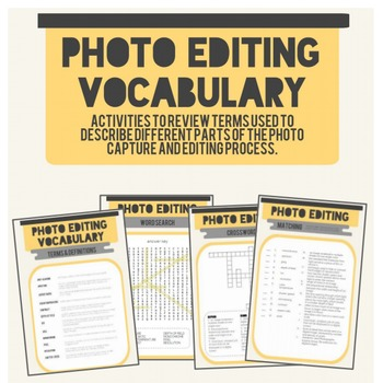 Photo Editing Vocabulary Activity Packet