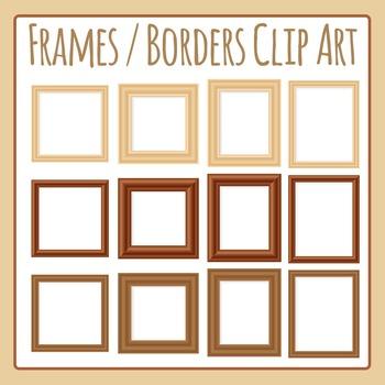 Photo Frames - Blank Wooden Frames Clip Art for Commercial Use