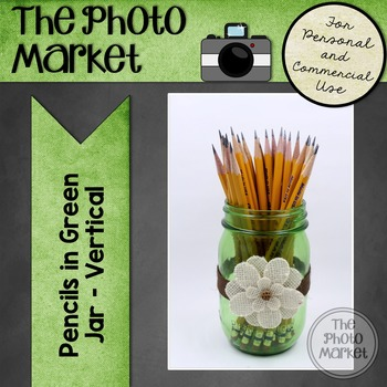 Photo: Pencils in Green Glass Jar