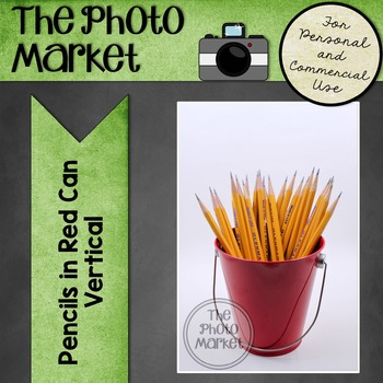 Photo: Pencils in Red Can - Vertical