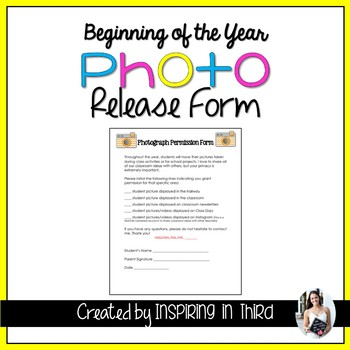 Photo Permission Form for Beginning of the Year