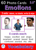 Photo Vocabulary Cards *60 EMOTIONS / FEELINGS* Cards 3 Formats 3.5x3.7""