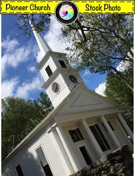 Stock Photo: Pioneer Revolutionary War Period Meetinghouse/ Church