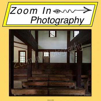 Stock Photo: Pioneer Revolutionary War Period Meetinghouse Interior