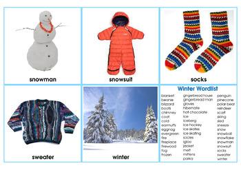 WINTER Vocabulary Photo Flash Cards 3 Formats