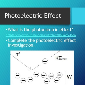 Photoelectric Effect (Simulation/Investigation)