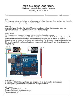 Photogate timing with the Arduino uno and a photoresistor