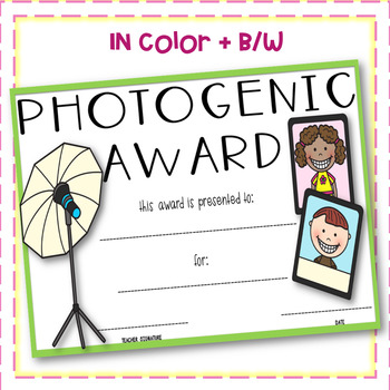 Photogenic Award- Editable!