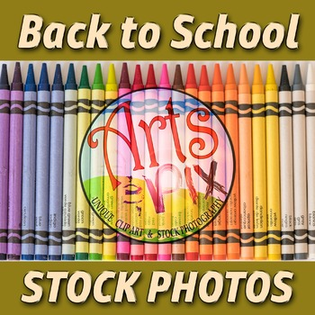 """""""Back to School"""" Photograph - Title Background Stock Photo of 24 Crayons"""