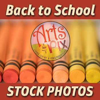 """Back to School"" Photograph - Title Background Stock Photo of Crayons - Close Up"