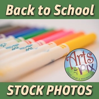 """Back to School"" Photograph - Title Background Stock Photo of Markers"