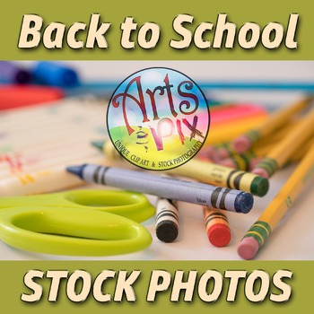 """""""Back to School"""" Photograph - Title Background Stock Photo of School Supplies 2"""