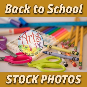 """Back to School"" Photograph - Title Background Stock Photo of School Supplies"