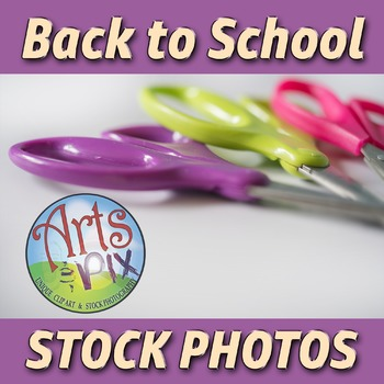 """""""Back to School"""" Photograph - Title Background Stock Photo of Scissors"""