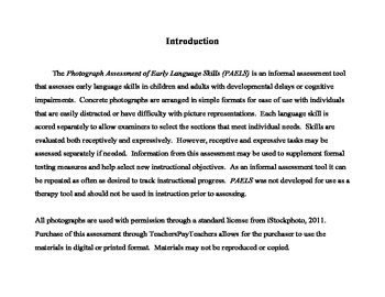 Photograph Assessment of Early Language Skills: Early Childhood, Autism, Speech