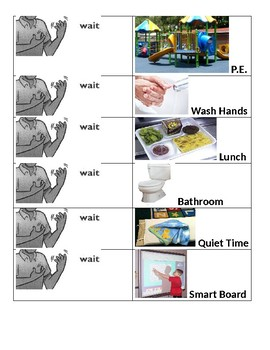 Photograph Visual Schedule with Wait Cues