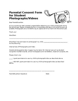 Photographing Consent Form