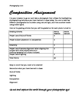 Photography Basics 2nd Lesson: Composition, Quiz, Assignment and Grading Rubric