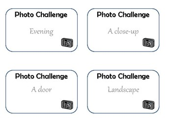 Photography Challenge Cards