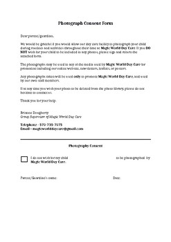 Pography Consent Form | Photography Consent Form By Early Childhood Education Tpt