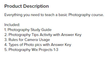 Photography Course unit including Activities, Research, and Wix Projects