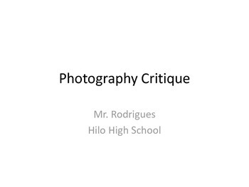 Photography Critique - Elements & Principles (PDF)