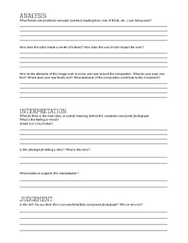Photography Critique Worksheet