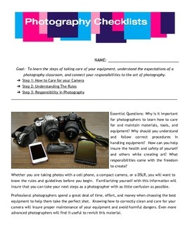 Photography Equipment Checklist and Responsibilities