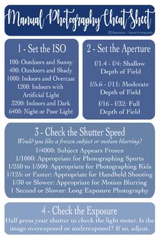 Photography: Manual Photography Cheat Sheet