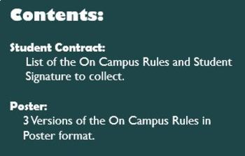 Photography ON CAMPUS RULES - Student Contract & Classroom Poster