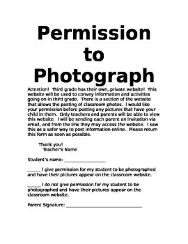Photography permission slip by the love of teaching tpt photography permission slip thecheapjerseys Choice Image