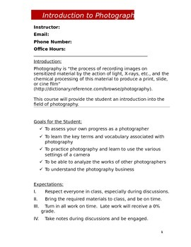 Photography Syllabus (DOC)