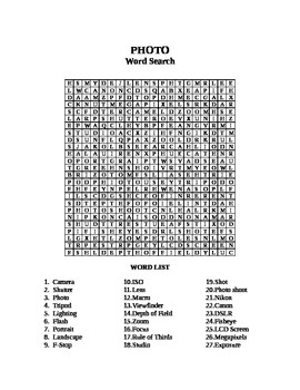 Photography Word Search