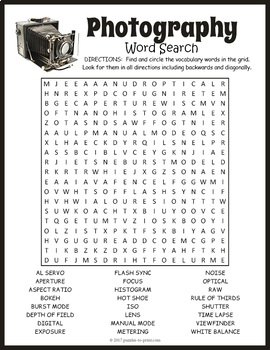 Photography Word Search Puzzle By Puzzles To Print Tpt