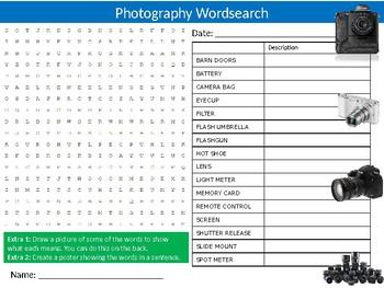 Photography Wordsearch Puzzle Sheet Keywords Homework Cameras Photos