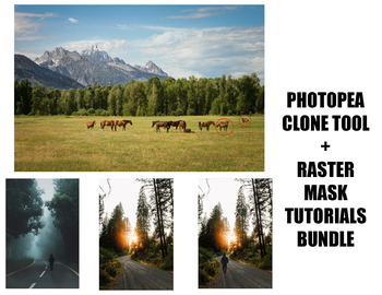 Photopea - All Clone Tool & Raster & Clipping Mask Tutorials