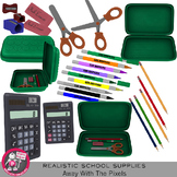 Photorealistic Clipart - School Supplies Pencil Case  - Re