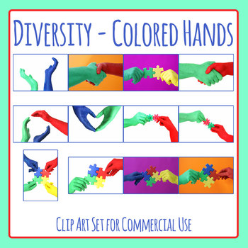 Photos - Colored Hands / Diversity Photographic Clip Art for Commercial Use