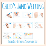 Photos of Child's Hand Writing / Doing School Work Clip Art Set Commercial Use