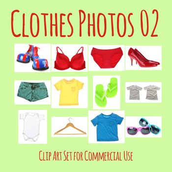 Photos of Clothes on White (2) Photograph Clip Art Set for Commercial Use