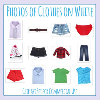 Photos of Clothes on White Photograph Clip Art Set for Commercial Use