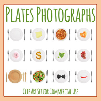 Photos of Plates and Meals Photograph Clip Art Set for Commercial Use