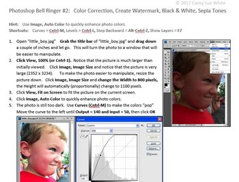 Photoshop Bell Ringer #2: Color Correction, Create Watermark, B&W, Sepia