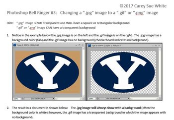 """Photoshop Bell Ringer #3:  Changing a """".jpg"""" image to a """".gif"""" or """".png"""" image"""